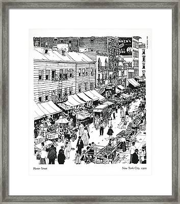 Framed Print featuring the drawing Hester Street by Ira Shander