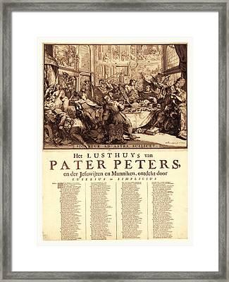 Het Lusthuys Van Pater Peters, En De Jesuwijten En Munniken Framed Print by English School