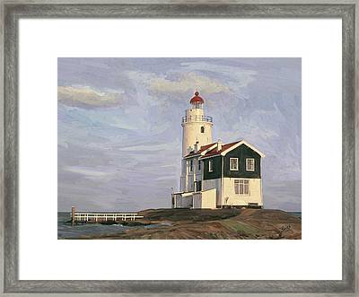 Framed Print featuring the painting Het Paard Light House by Nop Briex