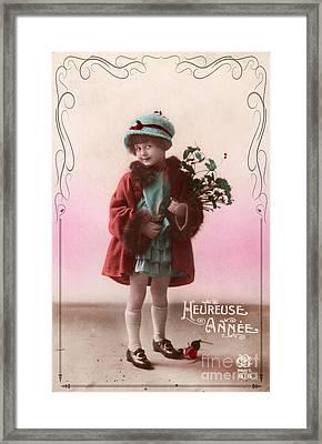 Heureuse Annee Vintage Girl Framed Print