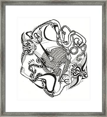 Hexagon Cats Framed Print by Melinda Dare Benfield