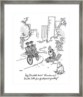 Hey, Dinwiddie Twins!  Remember Me? Drusilla Framed Print by George Booth