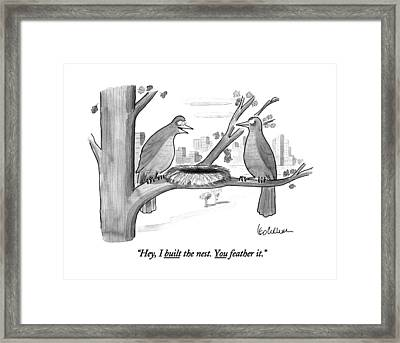 Hey, I Built The Nest. You Feather It Framed Print