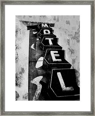 Hi-lander Motel Variation Black And White Framed Print by Gail Lawnicki