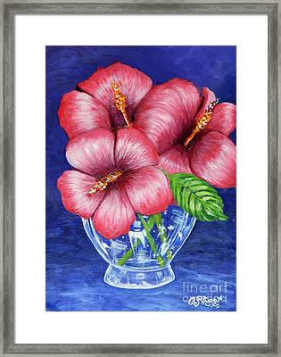 Hibiscus In Glass Vase Framed Print