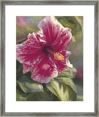 Hibiscus In Bloom Framed Print by Lucie Bilodeau