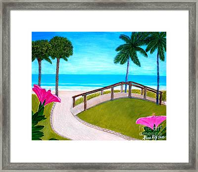 Framed Print featuring the painting Hibiscus In Paradise by Oksana Semenchenko