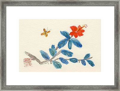 Hibiscus With Butterfly Framed Print