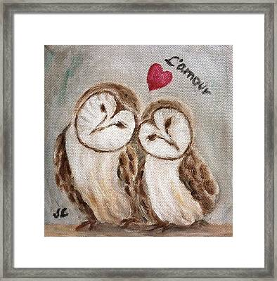 Hiboux Dans L'amour Framed Print by Victoria Lakes