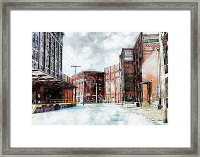 Hickory - Urban Building Row Framed Print by Liane Wright