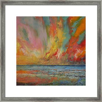 Hidden Heart Lava Sky Framed Print by Michael Creese