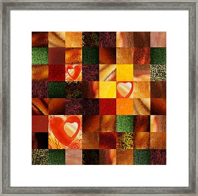 Hidden Hearts Squared Abstract Design Framed Print