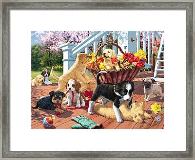 Hidden Images - Puppy Mischief Framed Print by Steve Read