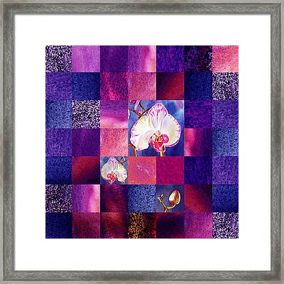 Hidden Orchids Squared Abstract Design Framed Print