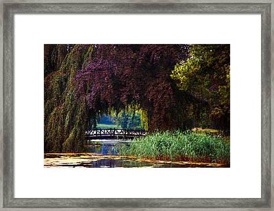 Hidden Shadow Bridge At The Pond. Park Of The De Haar Castle Framed Print by Jenny Rainbow