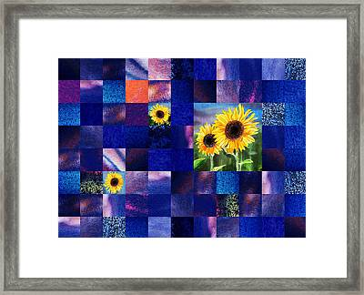 Hidden Sunflowers Squared Abstract Design Framed Print