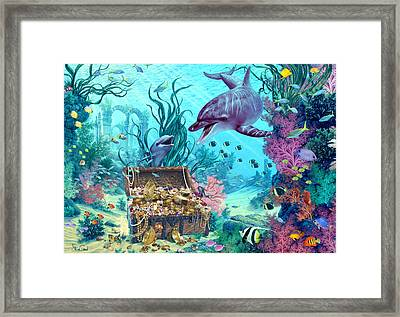 Hide And Seek Dolphins Framed Print by Steve Read