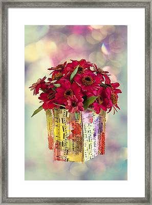 Framed Print featuring the photograph Hide And Seek Zinnias by Sandra Foster