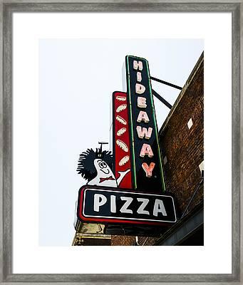 Hideaway Pizza Neon Sign Framed Print by David Waldo