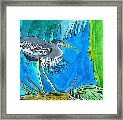 Framed Print featuring the painting Hidingbird by Artists With Autism Inc