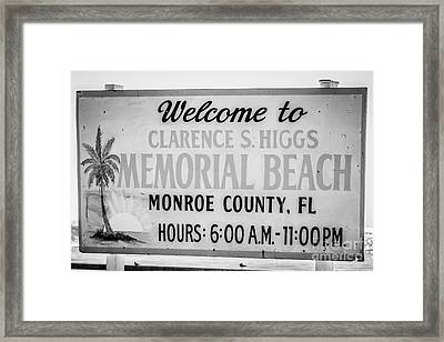 Higgs Beach Sign Closeup - Key West - Black And White Framed Print