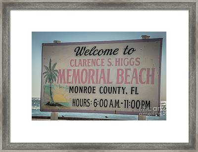 Higgs Beach Sign Closeup - Key West - Hdr Style Framed Print