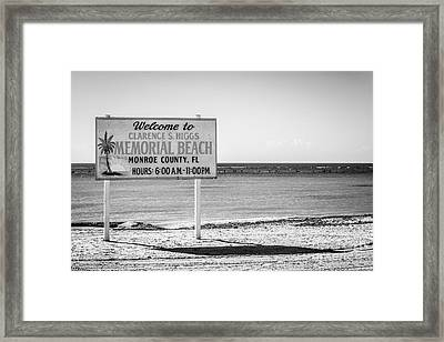 Higgs Beach Sign - Key West - Black And White Framed Print