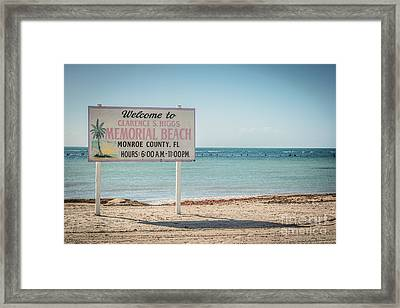 Higgs Beach Sign - Key West - Hdr Style Framed Print