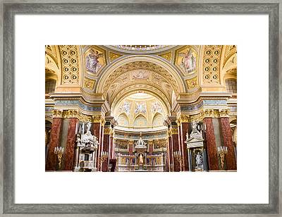 High Altar In The St Stephen Basilica In Budapest Framed Print by Artur Bogacki