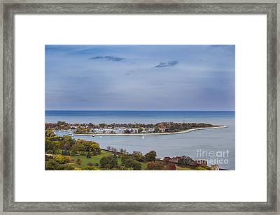 High Angle Photo Of Montrose Harbor And Lake Michigan In Autumn Framed Print by Linda Matlow