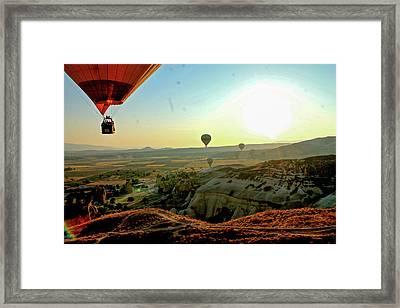High Angle View Hot Air Balloons Framed Print by Ximena Guevara / Eyeem