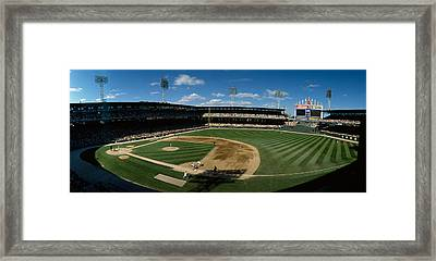 High Angle View Of A Baseball Match Framed Print by Panoramic Images