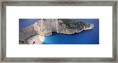 High Angle View Of A Beach, Shipwreck Framed Print