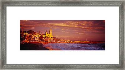 High Angle View Of A Beach, Sitges Framed Print by Panoramic Images