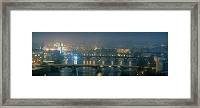 High Angle View Of A Bridge At Dusk Framed Print
