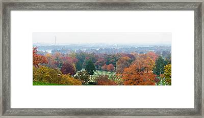 High Angle View Of A Cemetery Framed Print by Panoramic Images