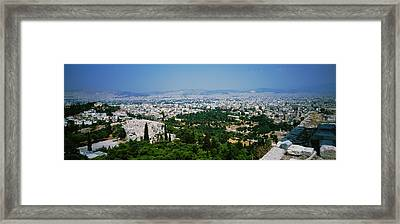 High Angle View Of A City, Acropolis Framed Print
