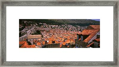 High Angle View Of A City As Seen Framed Print