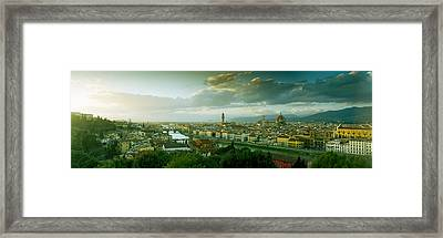 High Angle View Of A City From Piazzale Framed Print by Panoramic Images