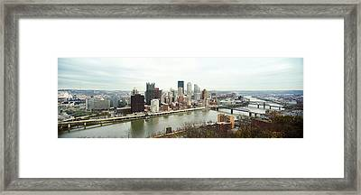 High Angle View Of A City, Pittsburgh Framed Print