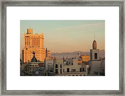 High Angle View Of A City, Plaza De Framed Print