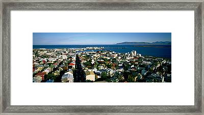 High Angle View Of A City, Reykjavik Framed Print by Panoramic Images