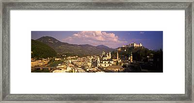 High Angle View Of A City, Salzburg Framed Print