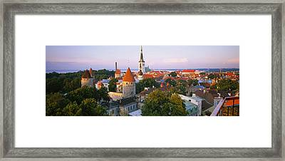 High Angle View Of A City, Tallinn Framed Print