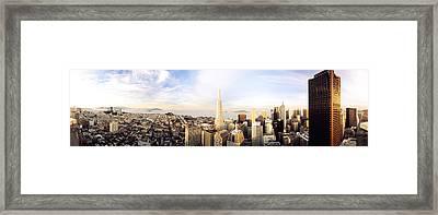 High Angle View Of A City, Transamerica Framed Print