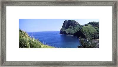 High Angle View Of A Coast, Kahakuloa Framed Print by Panoramic Images