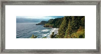 High Angle View Of A Coastline, Heceta Framed Print