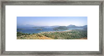 High Angle View Of A Coastline, Lefkas Framed Print