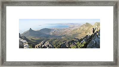 High Angle View Of A Coastline, Table Framed Print by Panoramic Images