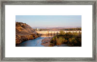 High Angle View Of A Dam On A River Framed Print by Panoramic Images